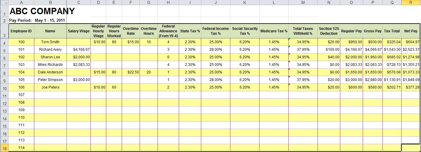 Spreadsheet For Payroll  Worksheet  Free Printable Worksheets