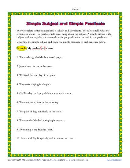 Subject Predicate Worksheets 3rd Grade The Best Worksheets Image