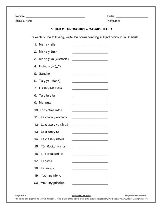 Subject Pronouns In Spanish Worksheet Answers Pin Maryann Calderon