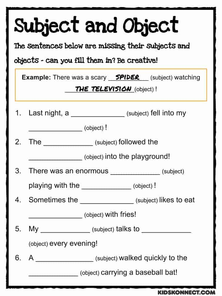 Subject Verb Object Worksheet