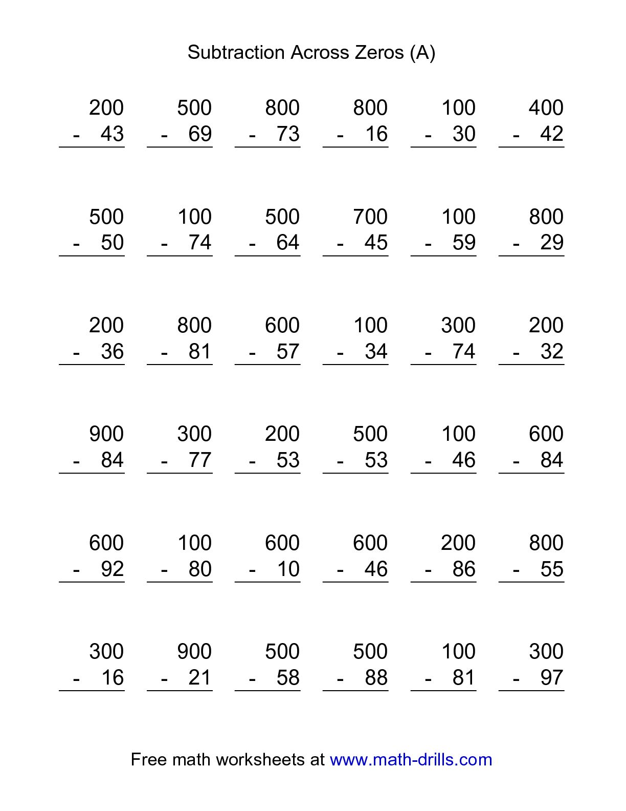 Subtracting Across Zeros Worksheets 3rd Grade Free Worksheet