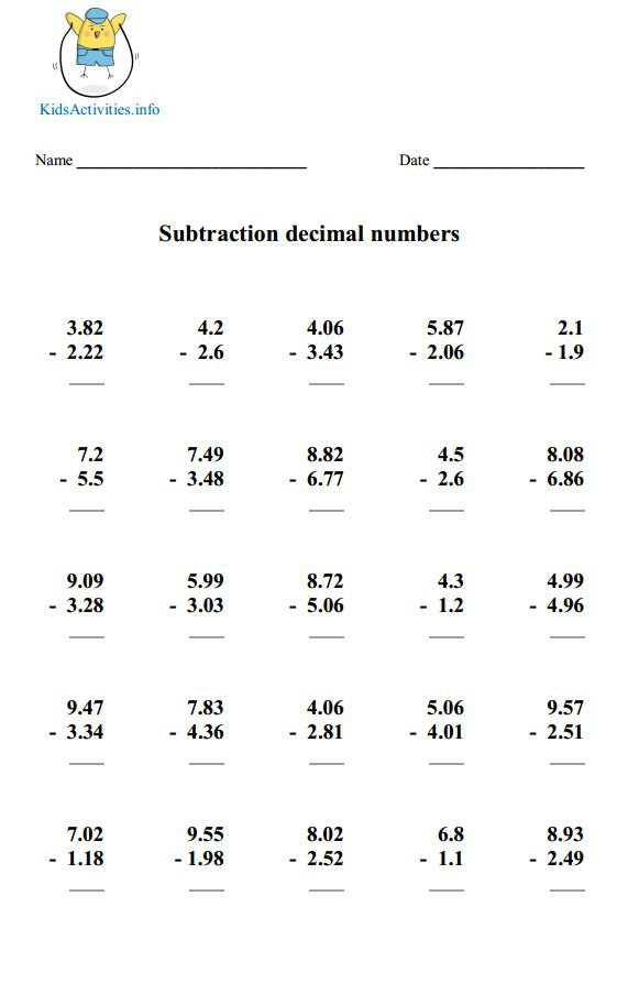 Subtracting Decimal Worksheet The Best Worksheets Image Collection