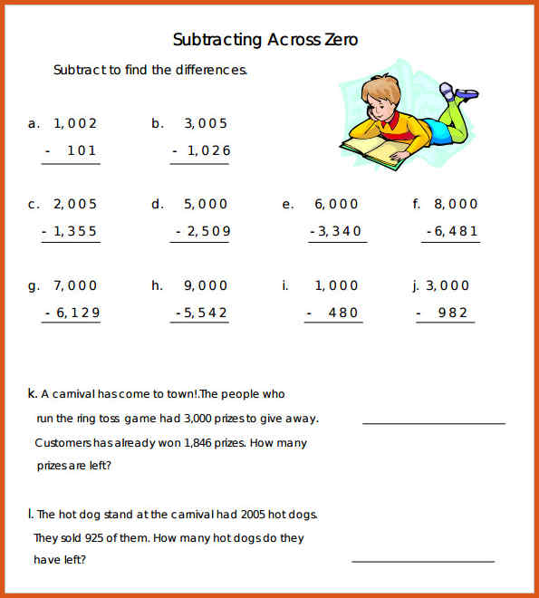 Subtraction With Zero Worksheets The Best Worksheets Image