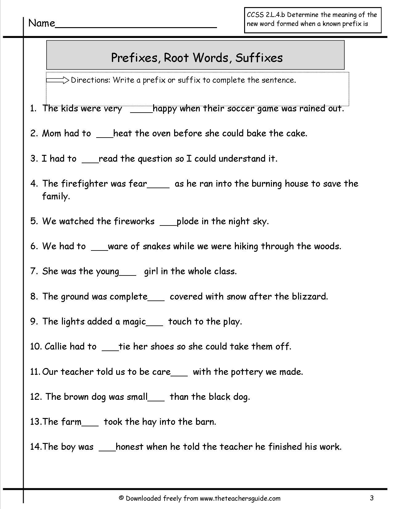 Suffix Worksheets 3rd Grade 944312