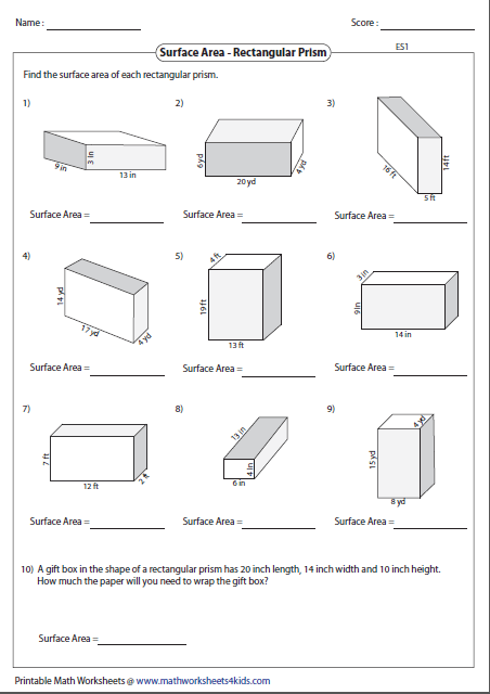 Surface Area Worksheet Surface Area Worksheets Free