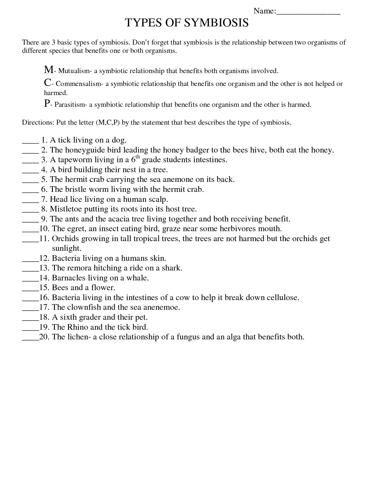 Symbiotic Relationships Worksheet 335674