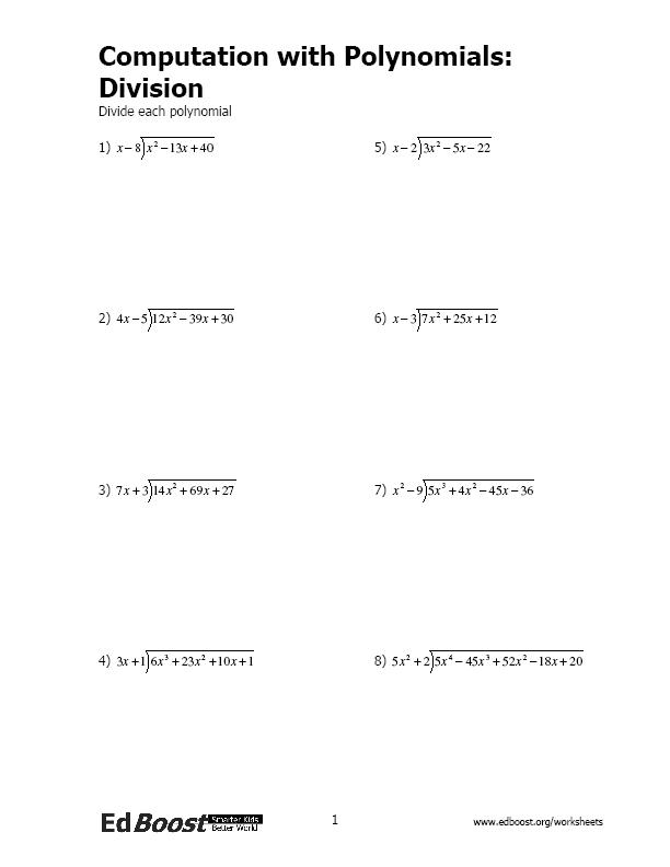 Synthetic Division Of Polynomials Worksheet With Answers 204486