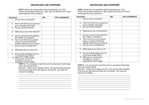 Technology Use Interview Worksheet Free Printable Worksheets