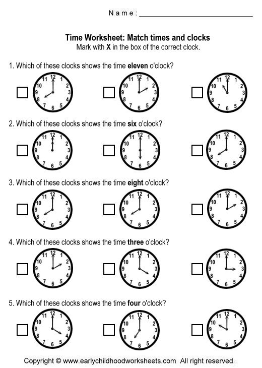 Telling Time Matching Worksheets Kindergarten 500610