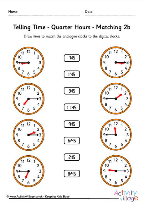 Telling Time Worksheets Time Worksheets Quarter Hours Pack 6 Free