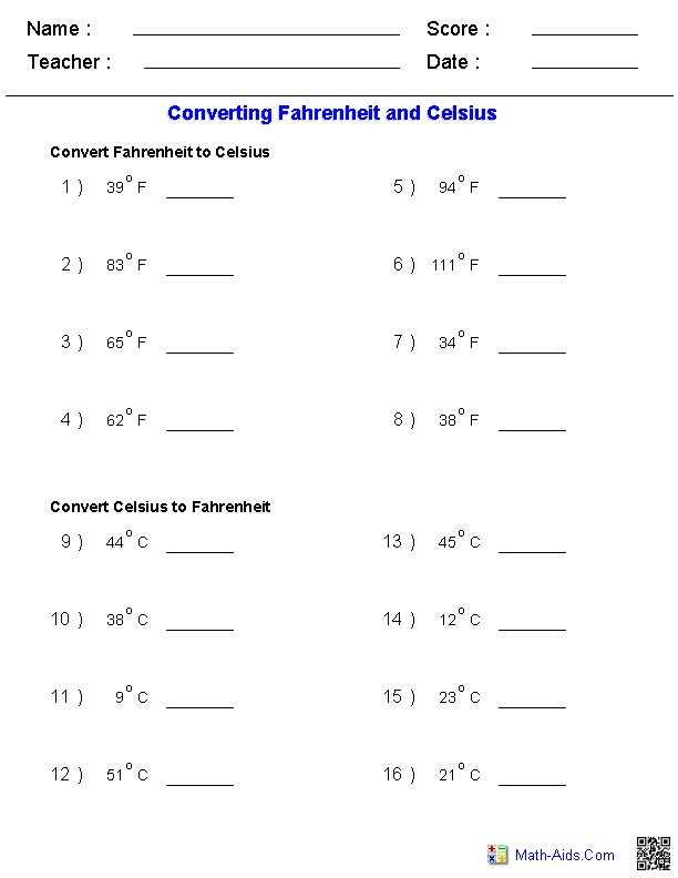 Temperature Conversion Worksheet Math Worksheet For Function Table