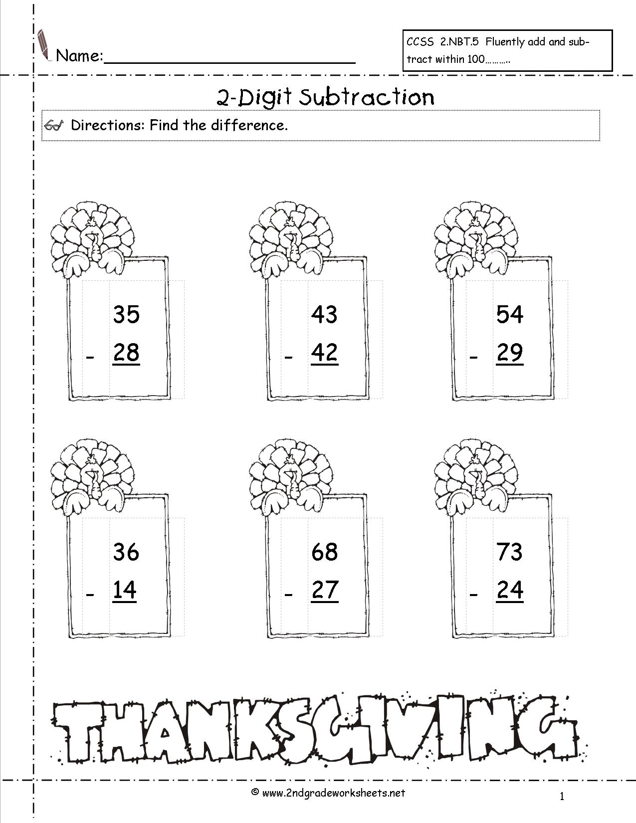 Thanksgiving Addition And Subtraction Worksheets The Best