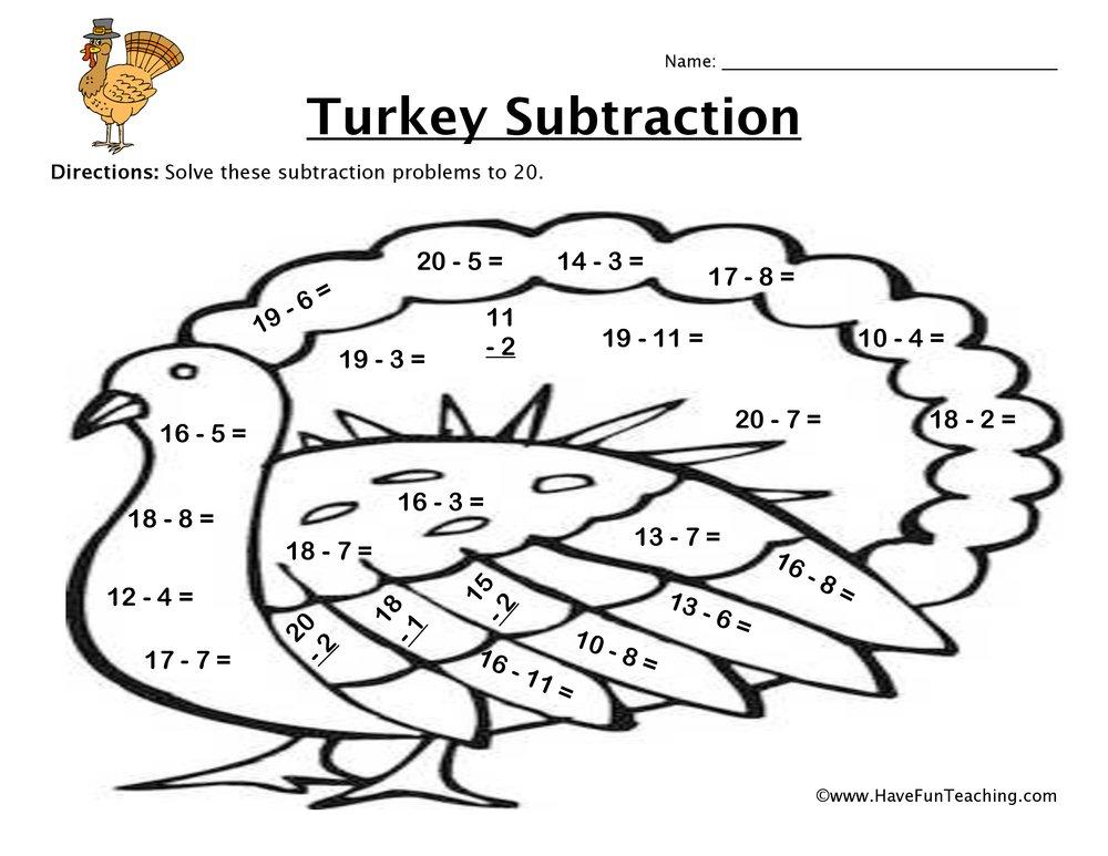 Thanksgiving Math Worksheets Thanksgiving Turkey Subtraction