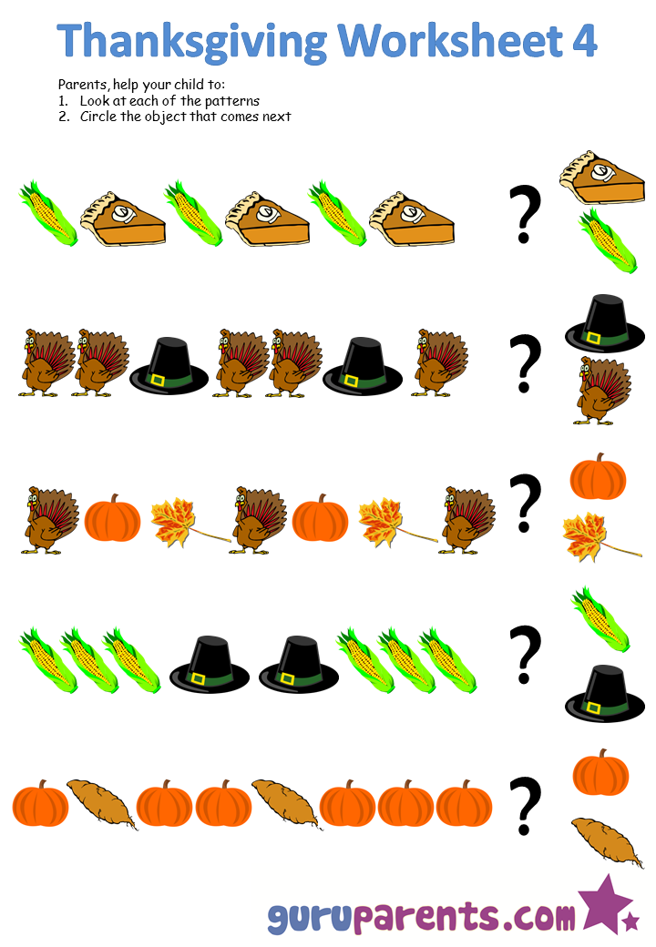 Thanksgiving Pattern Worksheets For Preschoolers The Best