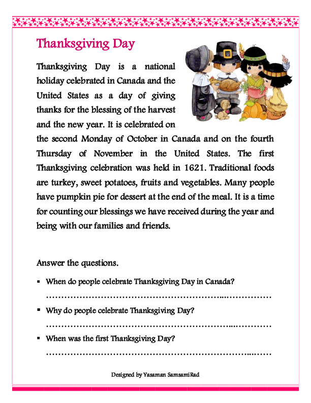 Thanksgiving Worksheets For 4th Grade 538176