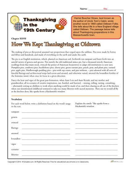 Thanksgiving Worksheets For Highschool Students