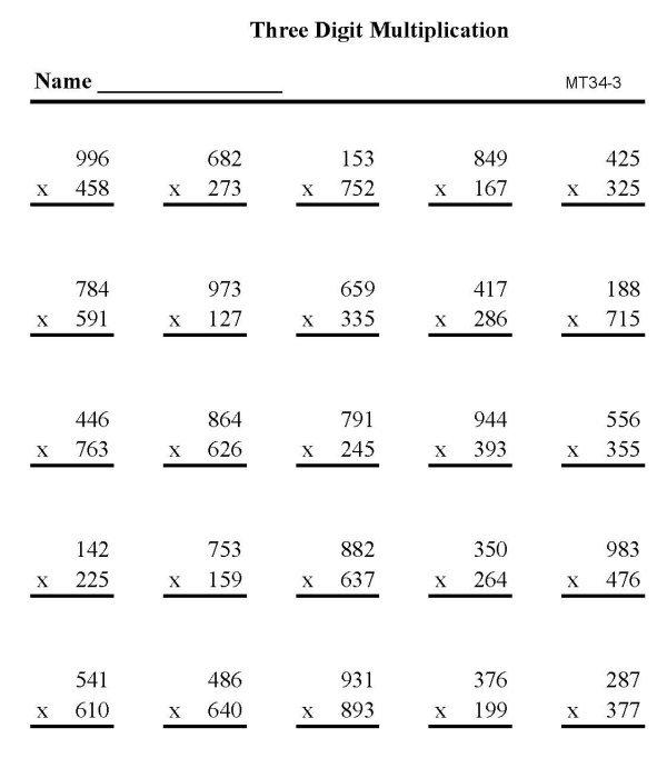 Three Digit Multiplication Worksheets Printable 266118