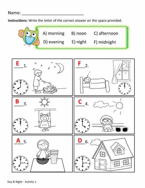 Time Of Day Worksheets The Best Worksheets Image Collection