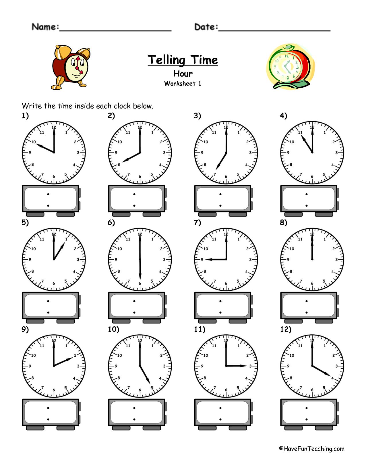 Time Worksheets For Kindergarten Free