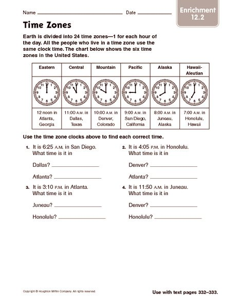 Time Zone Worksheets Year 5 The Best Worksheets Image Collection