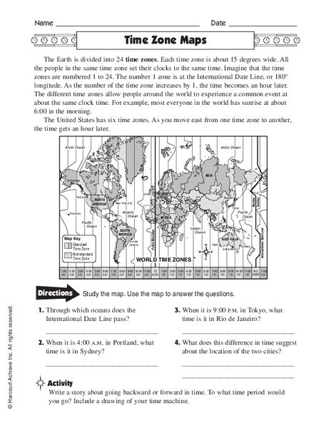 Time Zone Worksheets Year 6