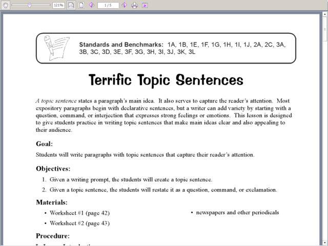Topic Sentence Worksheet 5th Grade The Best Worksheets Image