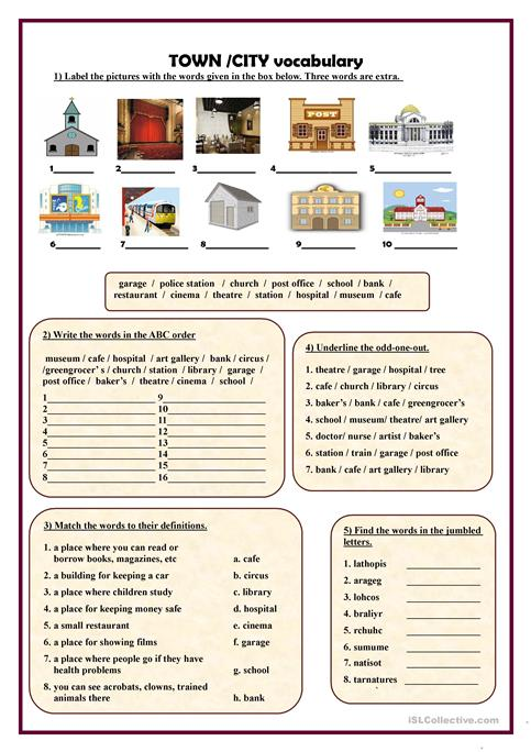 Town City Vocabulary Worksheet