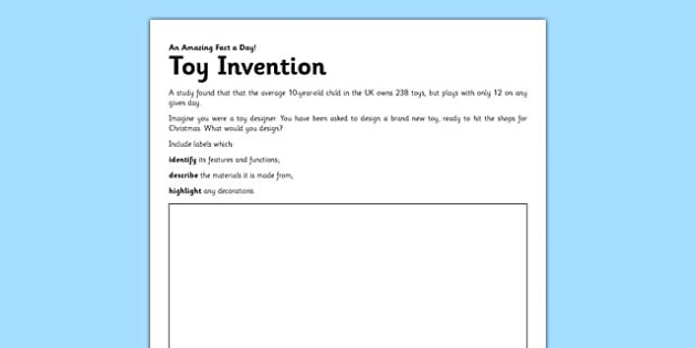 Toy Invention Worksheet   Activity Sheet