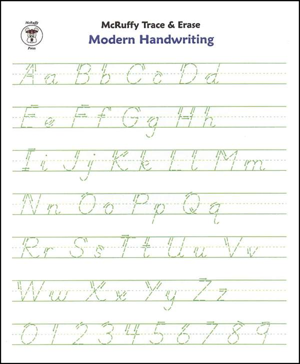 Trace & Erase Alphabet Handwrtng Sheets  Modern) (mcruffy Press