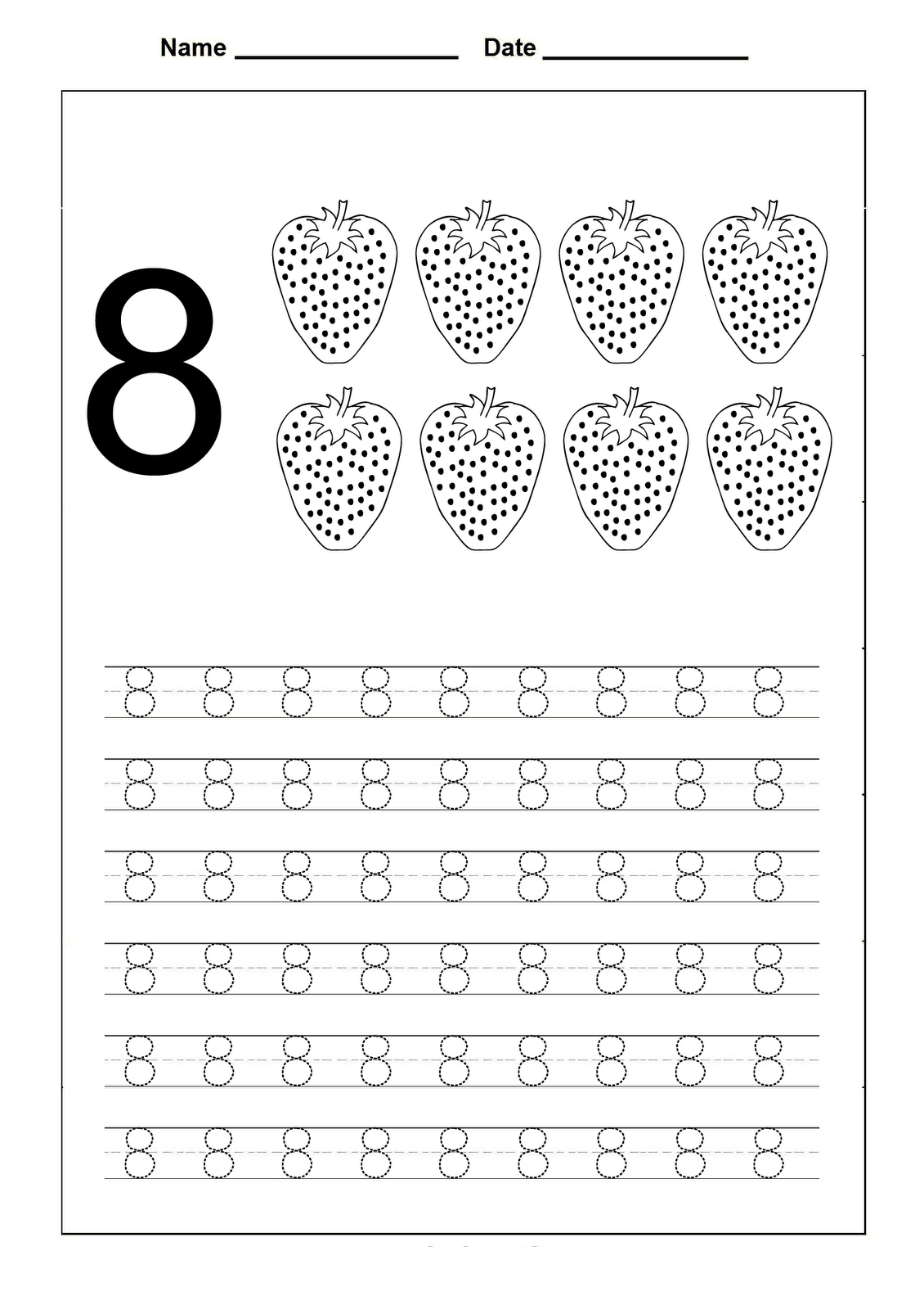 Tracing Number 8 The Best Worksheets Image Collection