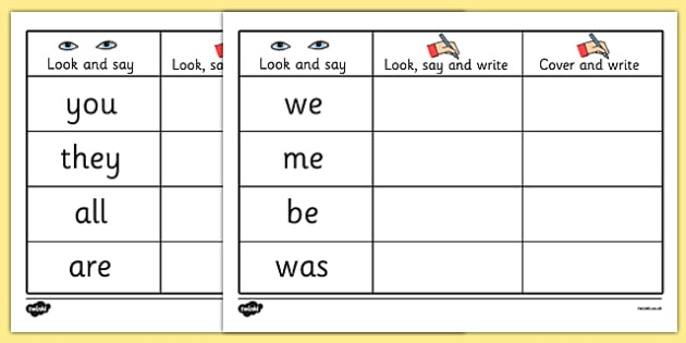 Tricky Words On Writing Practice Worksheets