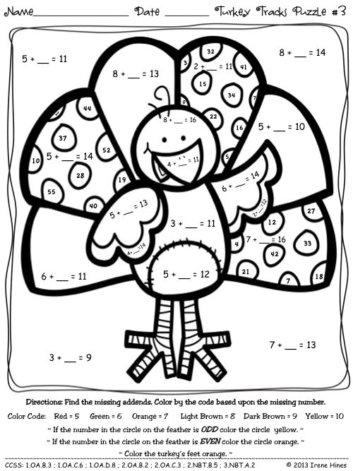 Turkey Math Sheet Turkey Tracks Feather Facts Math Printables