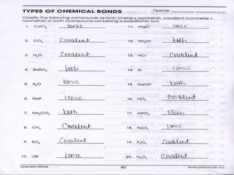Types Of Chemical Bonding Worksheet