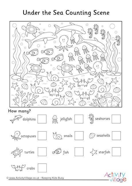 Under The Sea Counting Scene Worksheet