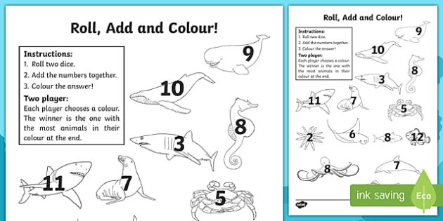 Under The Sea Roll And Colour Worksheets
