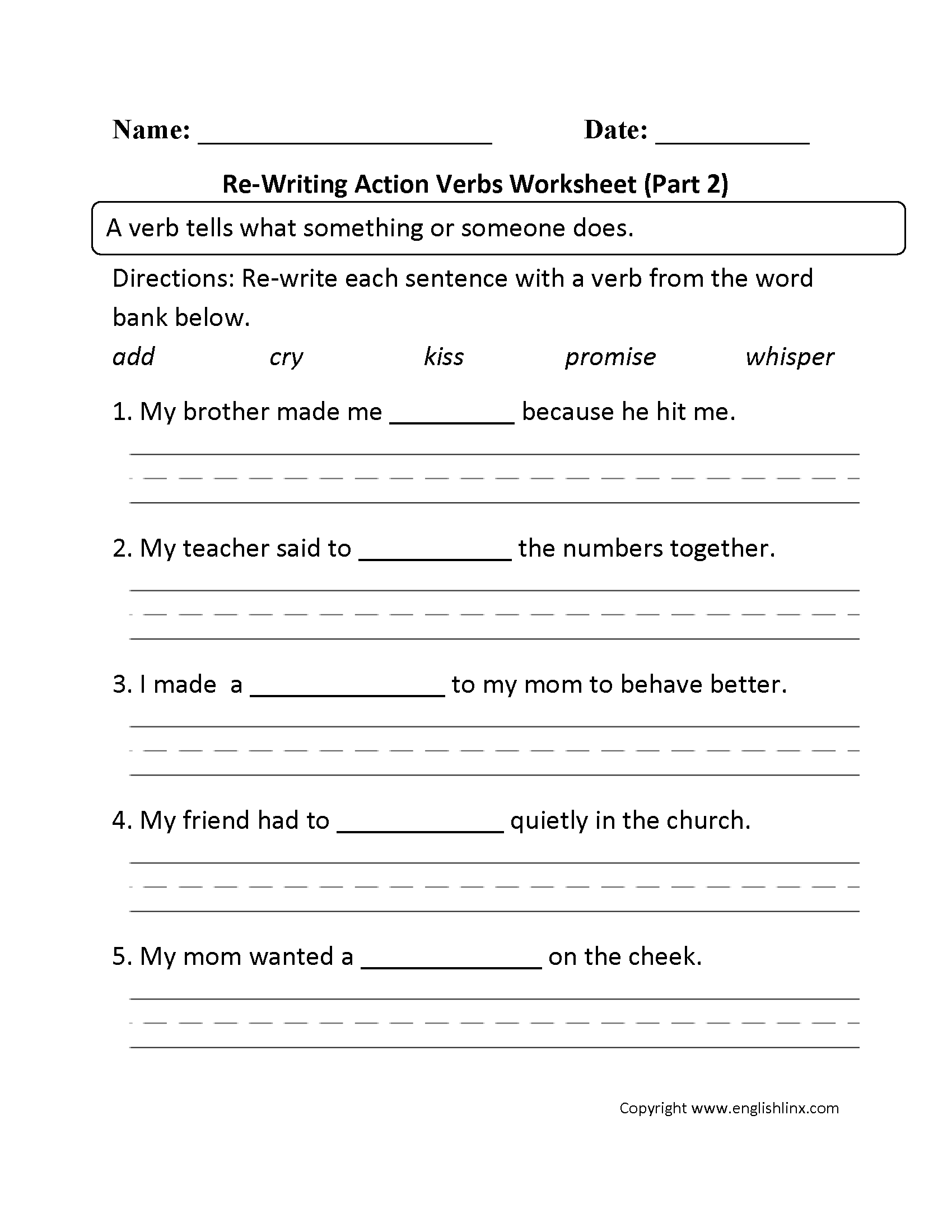 Verbs Worksheet Grade 2 The Best Worksheets Image Collection