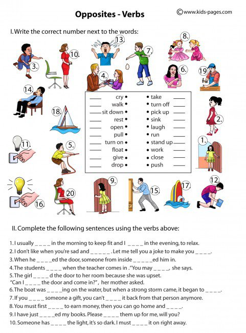 Verbs Worksheets Pdf Opposite Verbs Worksheet Download