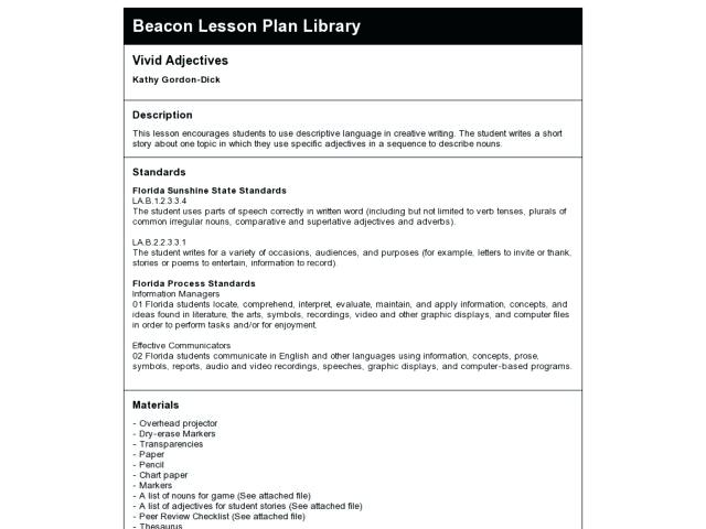 Vivid Adjectives Lesson Plans Worksheets Reviewed By Teachers