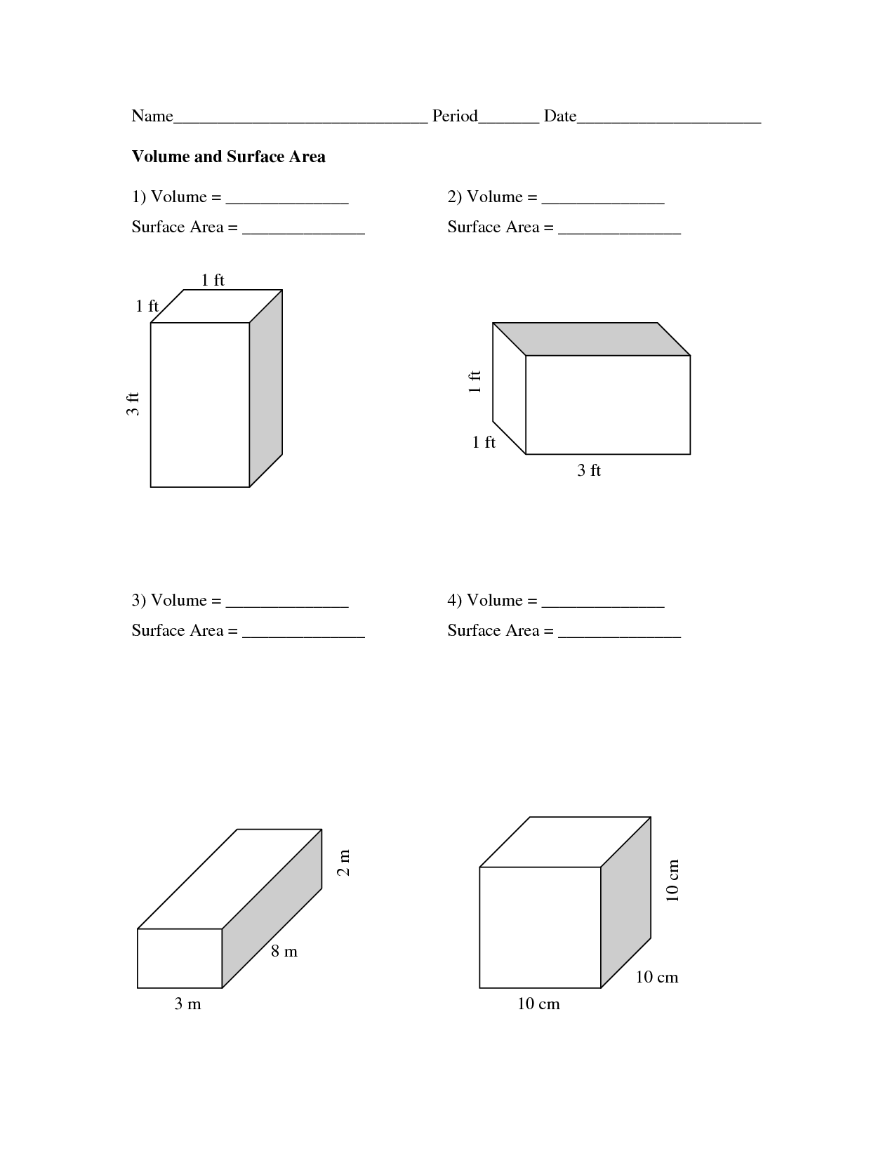 Volume Surface Area Worksheets The Best Worksheets Image
