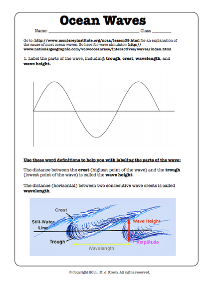 Wave Math Worksheet