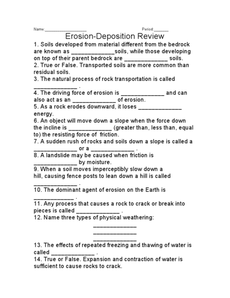 Weathering Erosion And Deposition Worksheets Pdf The Best