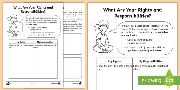 What Are Your Rights And Responsibilities  Worksheet   Activity