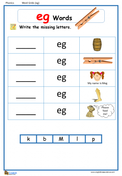 Word Family Eg Word Grids English Phonics Worksheet – English