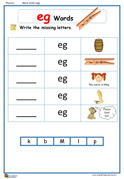 Word Family Eg Word Grids English Phonics Worksheet – English