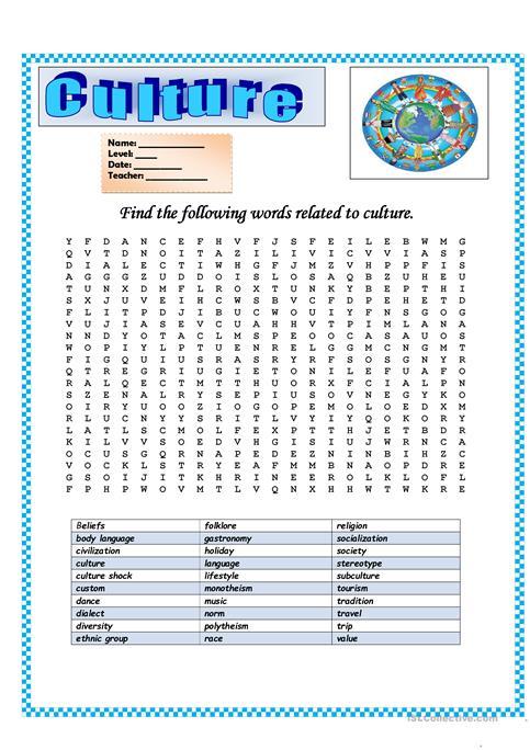 Wordsearch  Culture Worksheet