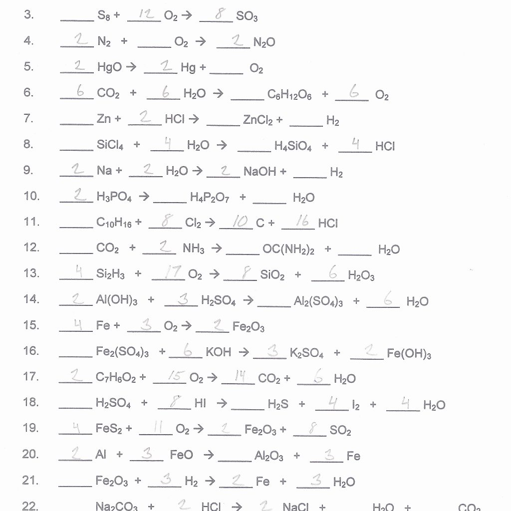 Worksheet 11 1 Balancing Skeleton Equations 621482