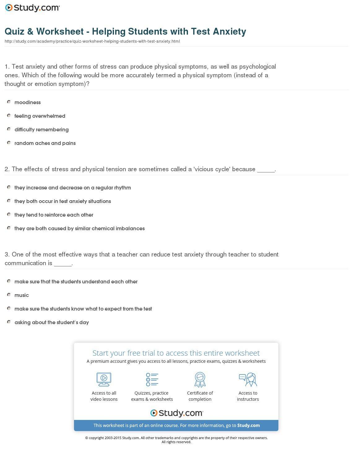Worksheet  Test Anxiety Worksheets  Mifirental Free Printables