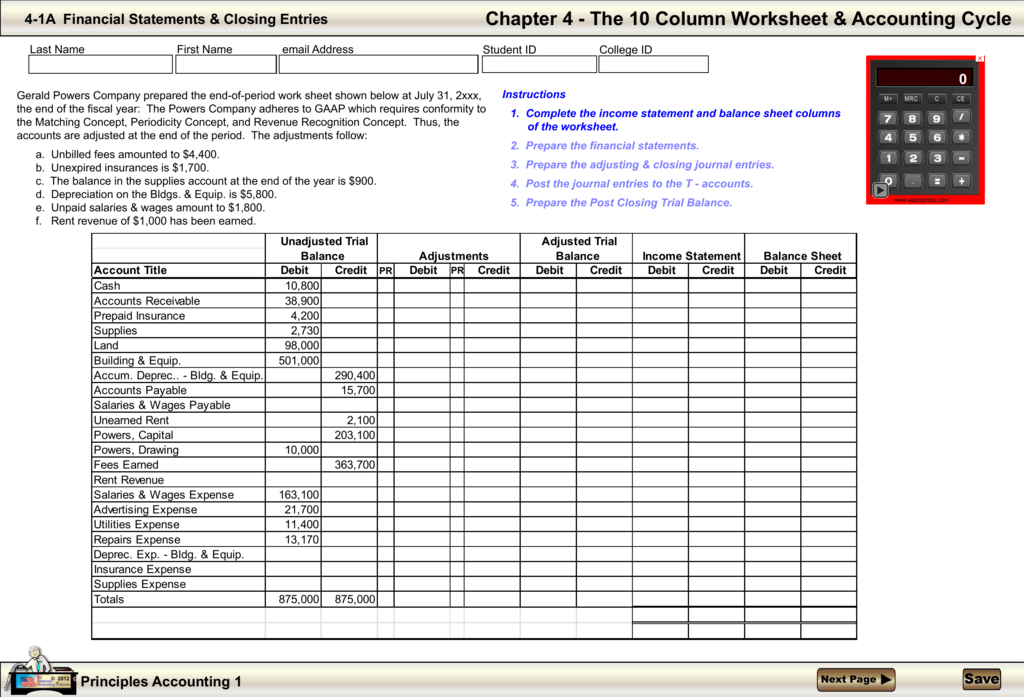 Worksheet Accounting 10 Column 74038