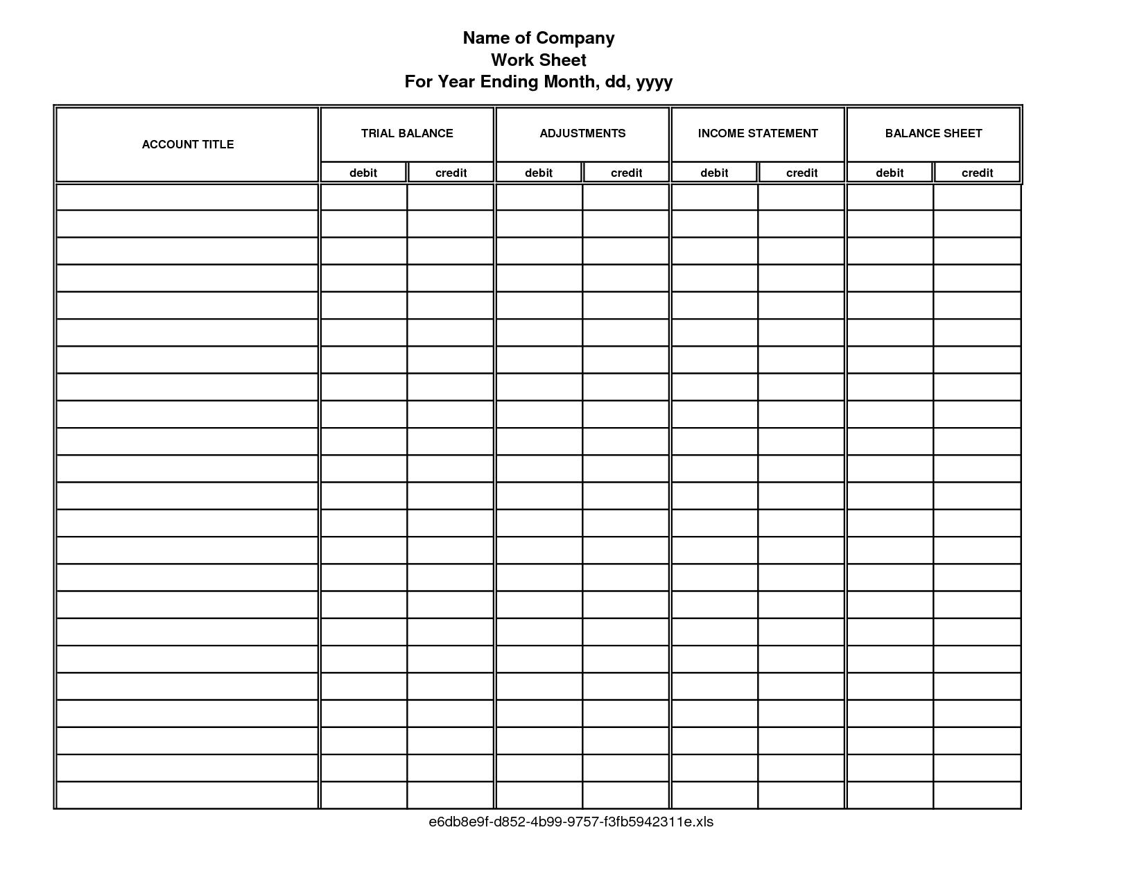 Worksheet Accounting 10 Column 74041
