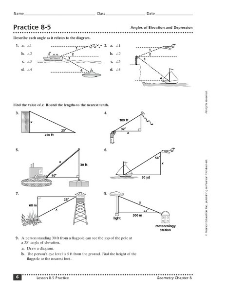 Worksheet Angles Of Depression And Elevation Answers